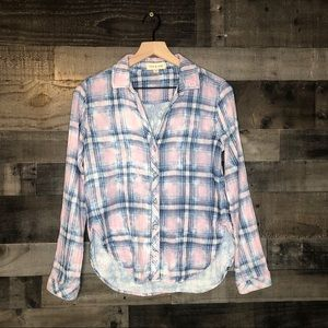 Cloth & Stone Cotton Pink Blue Plaid Button Up Top